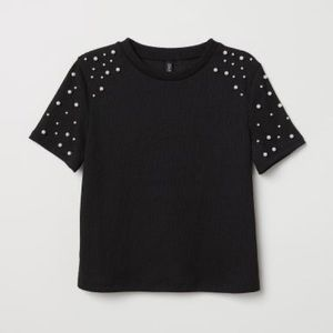 Pearl embellished cropped tee